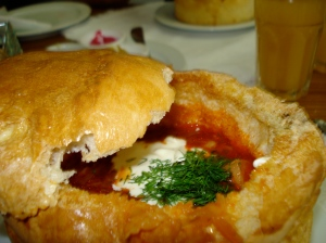 borscht in a bread bowl. The restaurant is called Bat'kivska Khata, and owned by hilarious Ukrainian pop star Poplavskii
