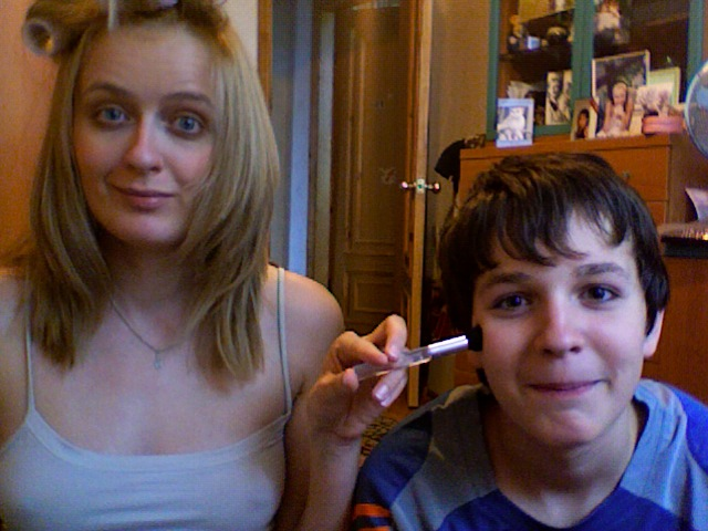 stabbing my brother in the face with a make-up brush...