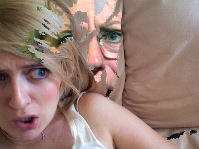 Exclusive picture! Bending space-time, Germaine emerges from my couch and tries to devour me. Run away! Away!